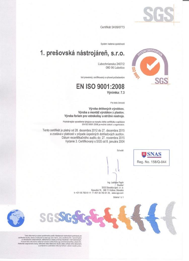 certifikat kvality 1pn prešov